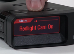 Radar detectors with red light camera detection
