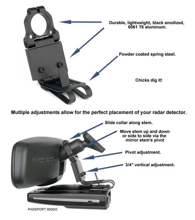 BBE 2000 INFO2 blendmount keeps your radar detector in front and out of the way BlendMount Radar Detector Mount at sewacar.co